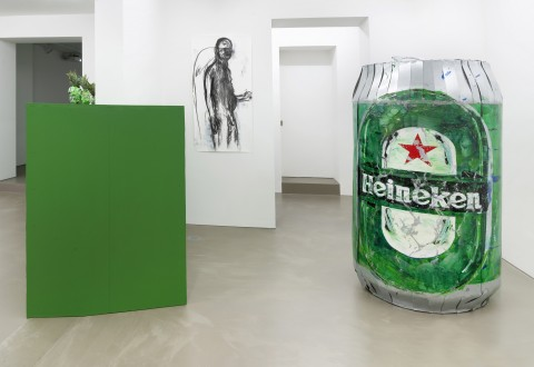 Erik van Lieshout 2019 The Beer Promoter Exhibition view Galerie Guido W. Baudach