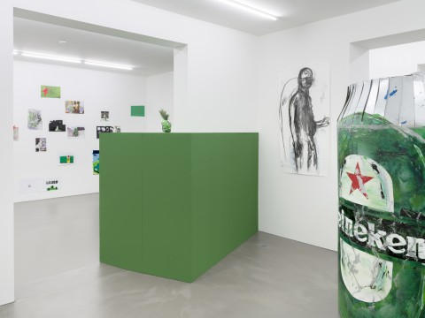 Erik van Lieshout The Beer Promoter Exhibition view Galerie Guido W. Baudach