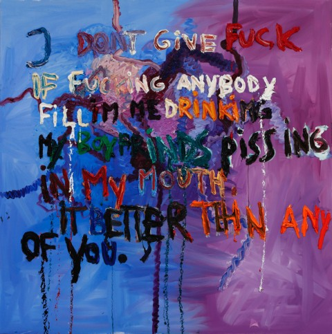 Bjarne Melgaard Untitled (I dont give fuck if fucking anybody fill Im me drinking my boyfriends pissing in my mouth. It better tehn any of you.) 2015